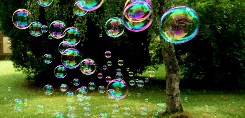 Soapy water bubbles.