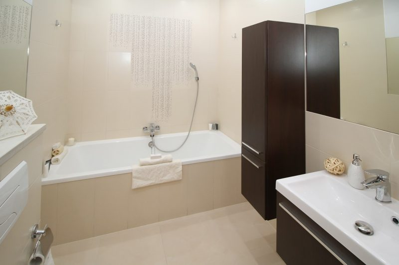 A clean bathroom and shower.