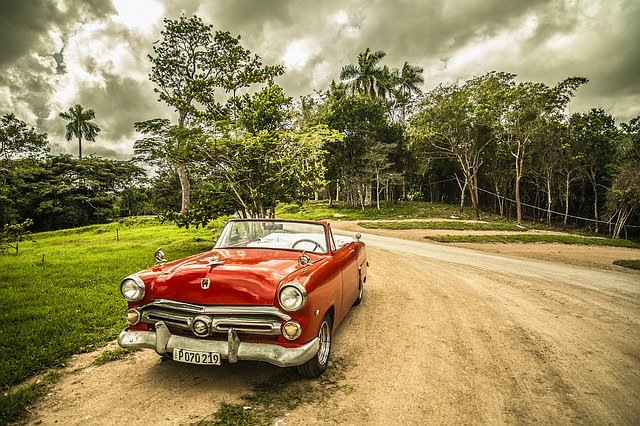 Classic car outdoors without pests.